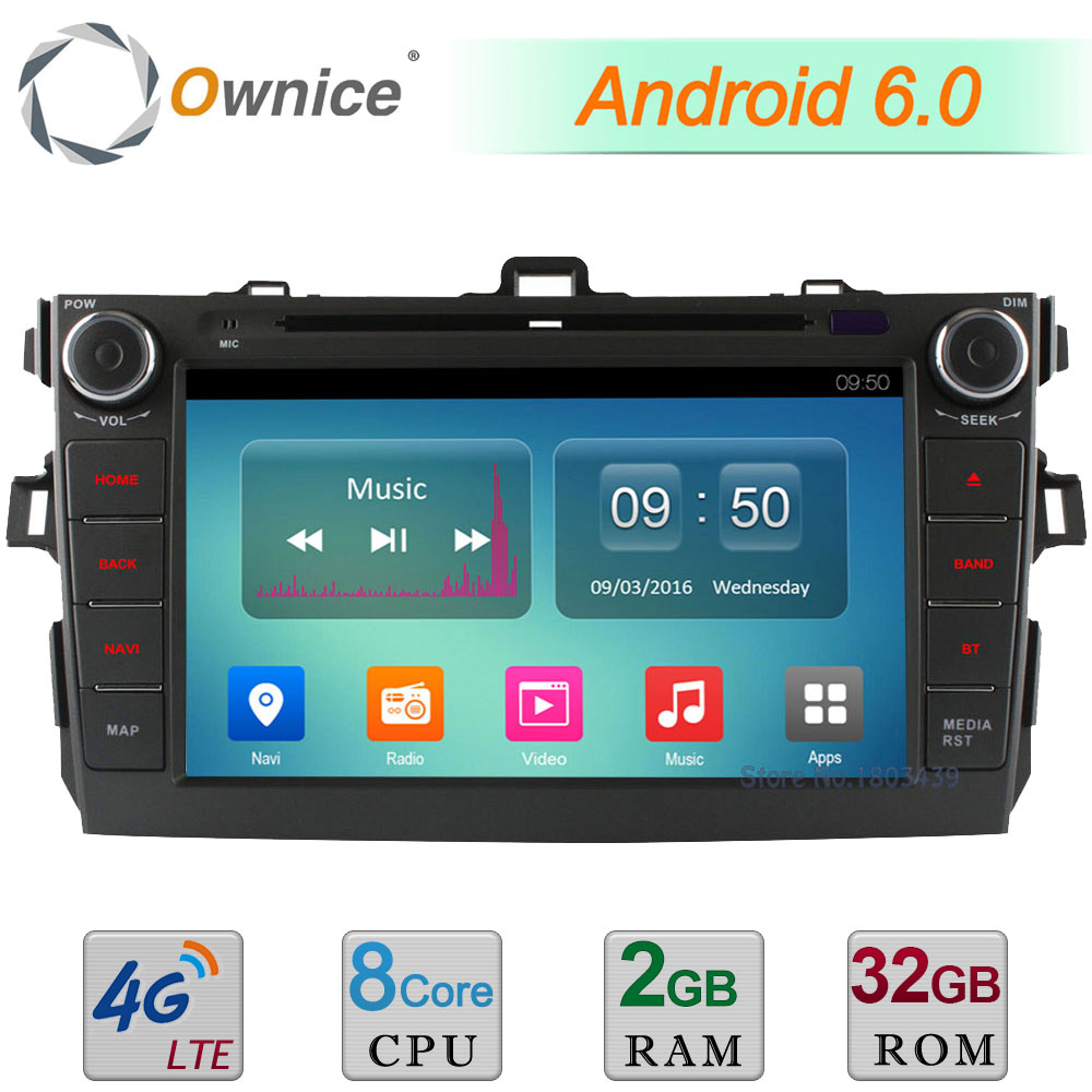Octa Core 2GB RAM 32GB ROM Android 6.0 8 4G WIFI DAB BT AUX Car DVD Multimedia Player Radio Stereo For Toyota Corolla 2006-2011