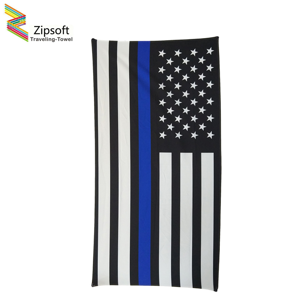 Zipsoft Brand Beach Capes Flag Striped Black Polyester Thin Chiffon Quick Dry Football Towles Swimming Pool Camping Beach Towels