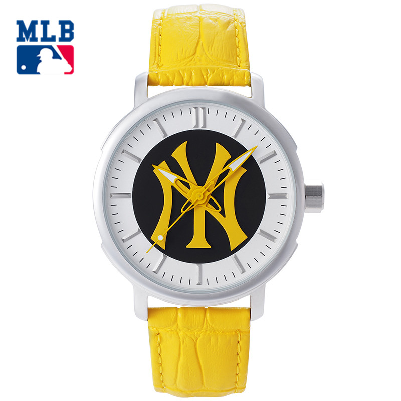 MLB NY Fashion Simple Casual Watch Yellow Leather Band Waterproof Ladies Watches Lover's Quartz Wrist Watch Clock D5010 mlb ny fashion luxury wrist watches waterproof luminous hands stainless steel men watch quartz casual sport wrist watch d5014