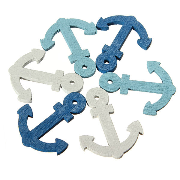 50Pcs Mini Mediterranean Style Wooden Sea Anchor Personalized <font><b>Home</b></font> Wall Ornament Hanging <font><b>Decor</b></font> Scrapbooking DIY Craft