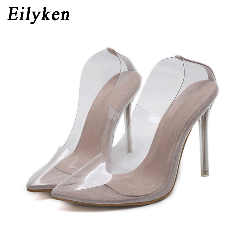 f12c60d2c39 Eilyken Clear PVC Transparent Pumps Sandals Perspex Heel Stilettos High  Heels Point Toes Womens Party Shoes