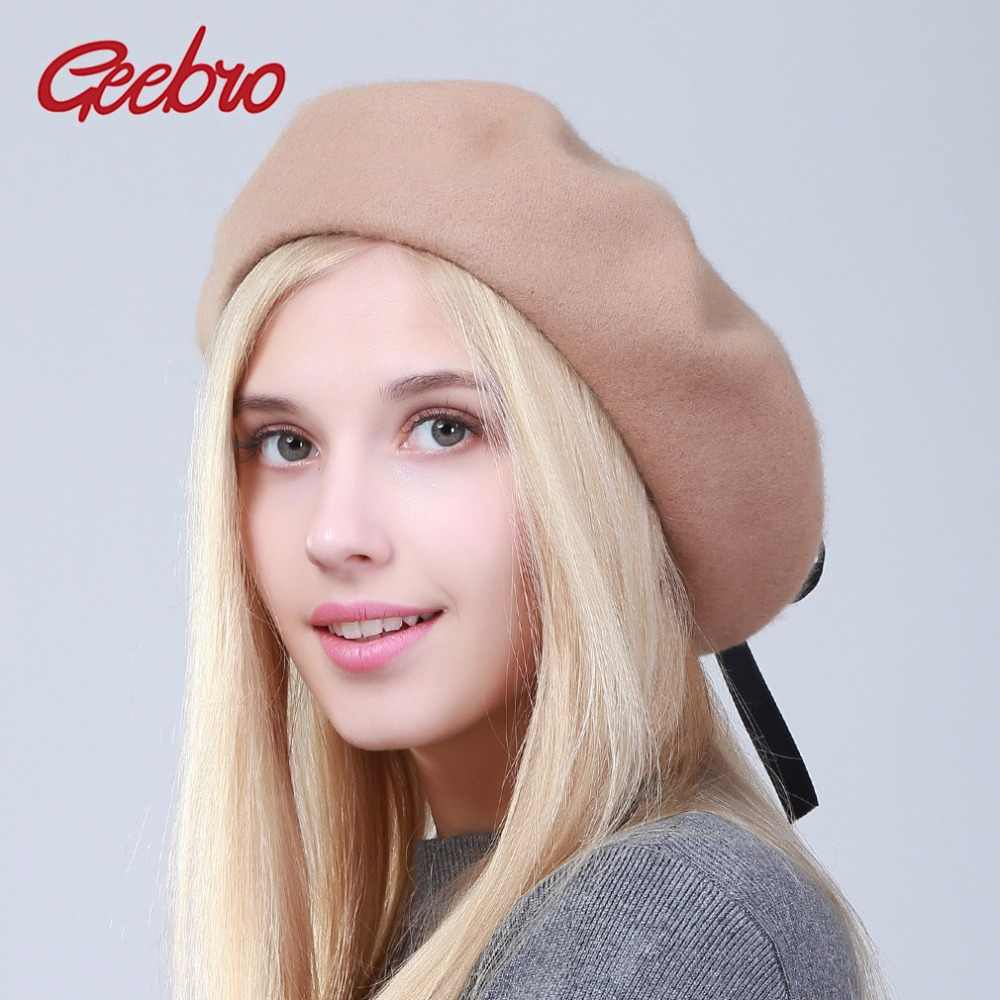 Geebro Winter Women's Beret Hats Vintage Soft Straps Cross Bow Tie Beret For Girls Ladies Wool Plain Color Berets DQ103