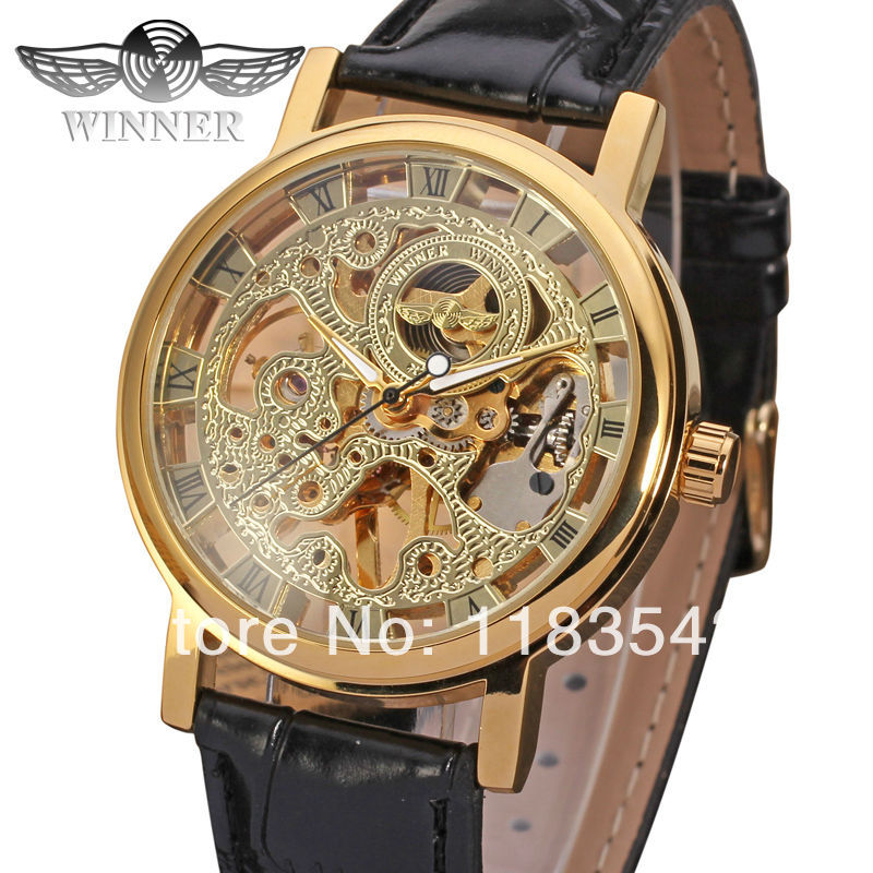 Winner new  Mechanical men gold color skeleton watch black leather strap   free shipping WRG8005M3G1 free shipping winter parkas men jacket new 2017 thick warm loose brand original male plus size m 5xl coats 80hfx