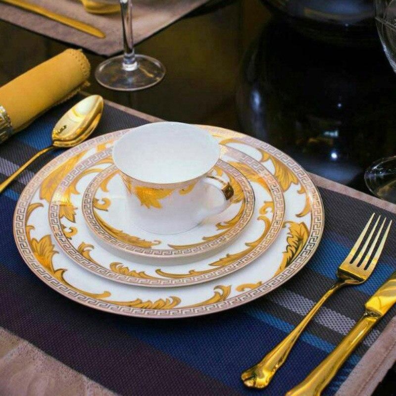 Advanced Dinner Set Royal Gold Leaves Flatware Set Steak Knife Fork Spoon Serving Tools Dinnerware Table ... & Advanced Dinner Set Royal Gold Leaves Flatware Set Steak Knife Fork ...