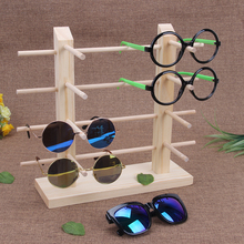 bincoco Double row frames wood display stand for glasses 3d glass display frame Sunglasses display stent incorporating props