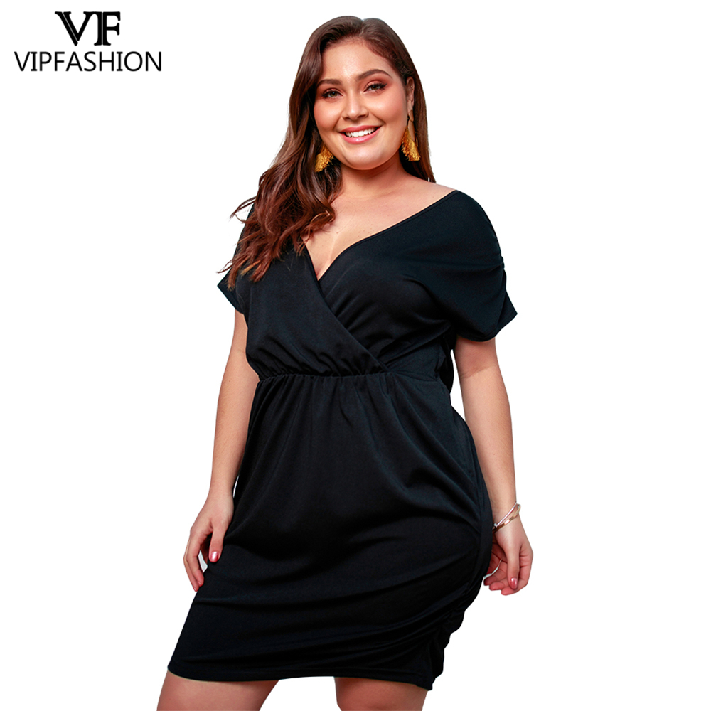 US $21.59 40% OFF|VIP FASHION 2019 Best Selling Plus Size Deep V Neck  Shorts Sleeves Women\'s Dress Loose Summer Ladies Dress-in Dresses from  Women\'s ...