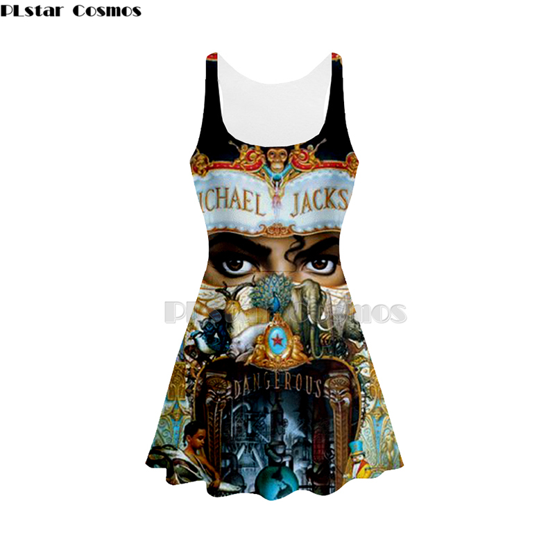 3D Print michael jackson women Summer women's clothing tank top dress sleeveless dress fashionable singer 3d dress
