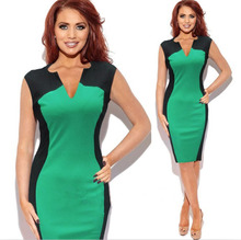 2014 Free Shipping Sexy Woman's Summer Optical Illusion Colorblock V neck Club Sheath Dress Plus Size S M L XL