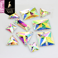 Clear Crystal Glass Rhinestone Sew On Square Rectangle Triangle Bagutte Grade 4A Flatback Strass Sewing Stone