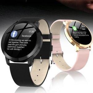 Image 3 - Cf18 1.22 Polegada relógio inteligente à prova dip67 água ip67 pressão arterial monitor de freqüência cardíaca metal starp multi modos esporte smartwatch feminino banda