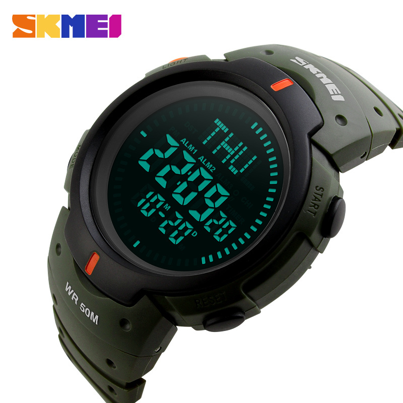 SKMEI Compass Digital Watch Men Repeater Stopwatch Sports Watches Military LED Electronic Wristwatch Army Green Clock Male 1231