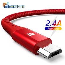 TIEGEM Micro USB кабель для Xiaomi Note 2.4A, ВЫСОКАЯ ЧЁТКОСТЬ, быстро заряжающийся мобильный телефон USB кабель для samsung S7 Android Зарядное устройство USB кабель 2 м 3 м