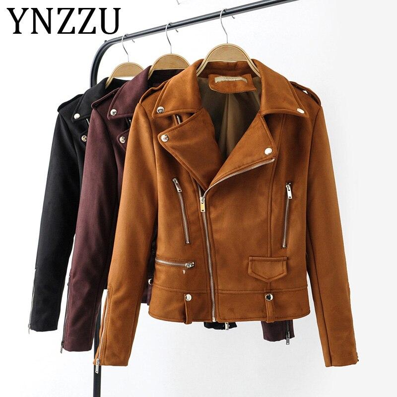 YNZZU 2019 Autumn Winter   Suede     Leather   Jacket Women Rivet Zippers Long Sleeve Female Biker Jacket Slim Outwears A1023