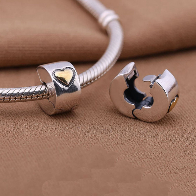 925 Sterling Silver european stopper charm gold heart Lock Clip original Fits Pandora Charms Bracelets diy