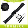 24mm 7 ponteiro pulseira de aço inoxidável + adaptadores para suunto core relógio banda butterfly fivela correia de pulso pulseira cinto preto