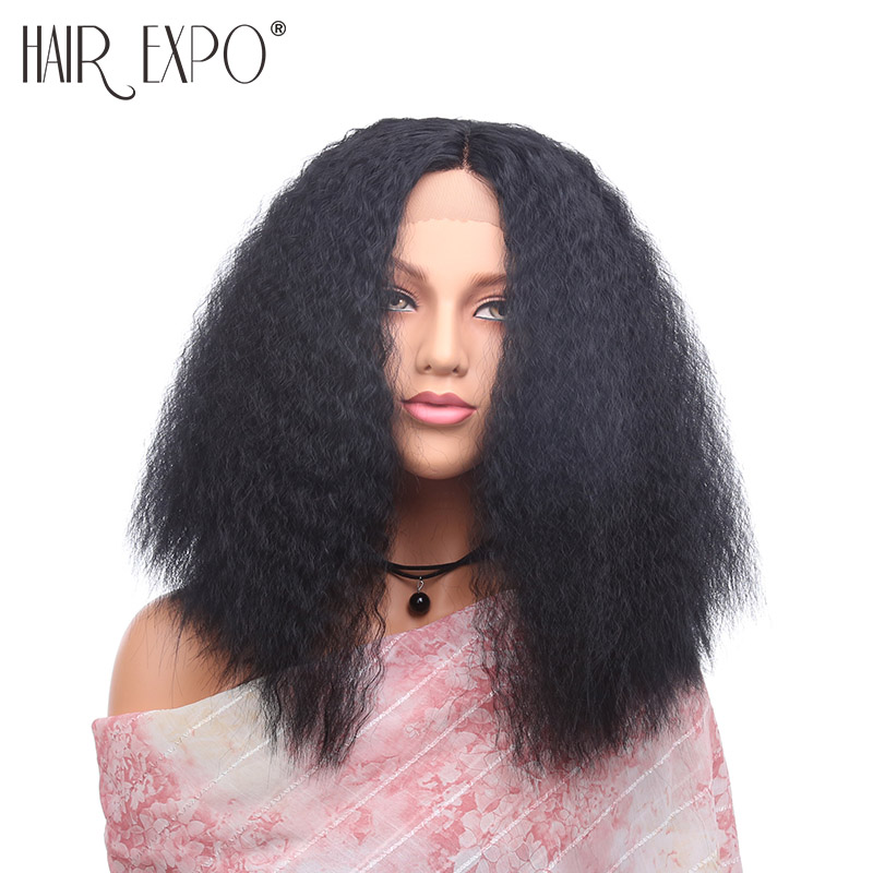 16inch Kinky Straight Synthetic Lace Front Wig Long Fluffy Afro Hair Glueless Cosplay Wigs For Black Women Hair Expo City