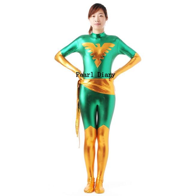 Home Halloween Cosplay Costume Shiny Metallic Spandex Zentai Anime Marvel Dark Phoenix Jean Grey X-men Tights Jumpsuit Professional Design