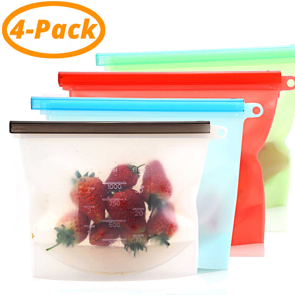 Reusable Silicone Food Preservation Bag Airtight Seal Storage Container Versatile Kitchen Cooking Utensil (set of 2&4)