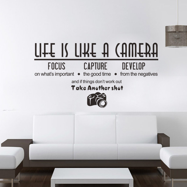 ZM57 Life Is Like A Camera Wall Sticker Creative Quote Vinyl Decals Room  Decoration Wall Phrases