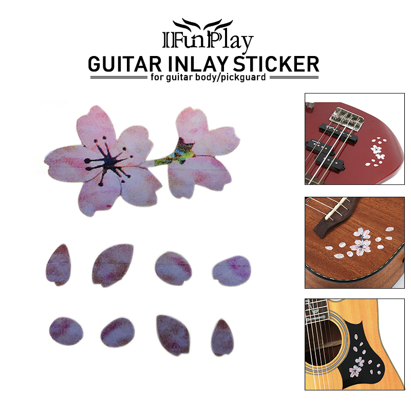 Guitar Parts & Accessories Beautiful Guitar Panel Sticker Diy Decals Cherry Tree Petals Colorful Shell Fingerboard Stickers Ukulele Bass Decals Dropshipping