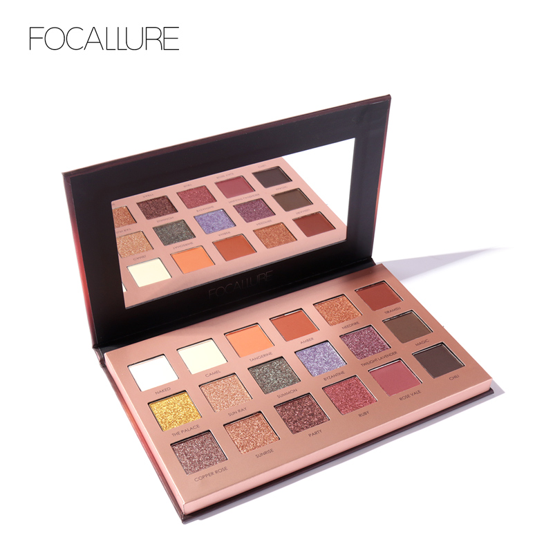 FOCALLURE 18 Colors Glitter Eyeshadow Shimmer Pigment Palette Kozmetikë Glitter Eye Shadow Makeup Bukuri