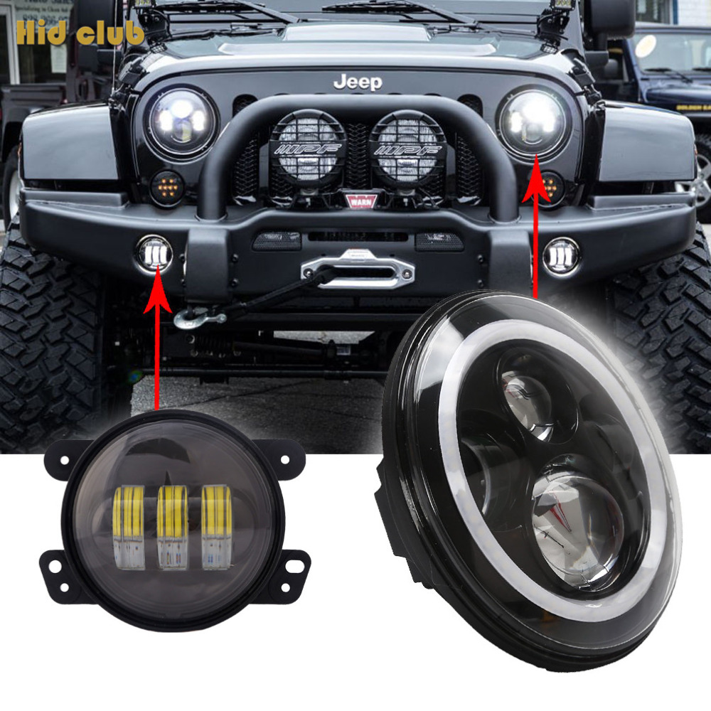 2X7'' Inch H4 H/L LED Headlight Halo Angel Eyes DRL + 4 Halo Front Bumper Fog Light for Jeep Wrangler Hummer Land Rover Truck 6 inch led headlights eagle light hi lo beam halo ring angel eyes x drl for offroad jeep wrangler front bumper fog light