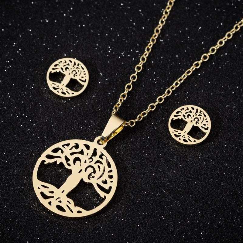 Oly2u acier inoxydable arbre de vie Collier ras du cou colliers ensemble pour femmes boucles d'oreilles Collier Collier bijoux ensembles cadeau de fête