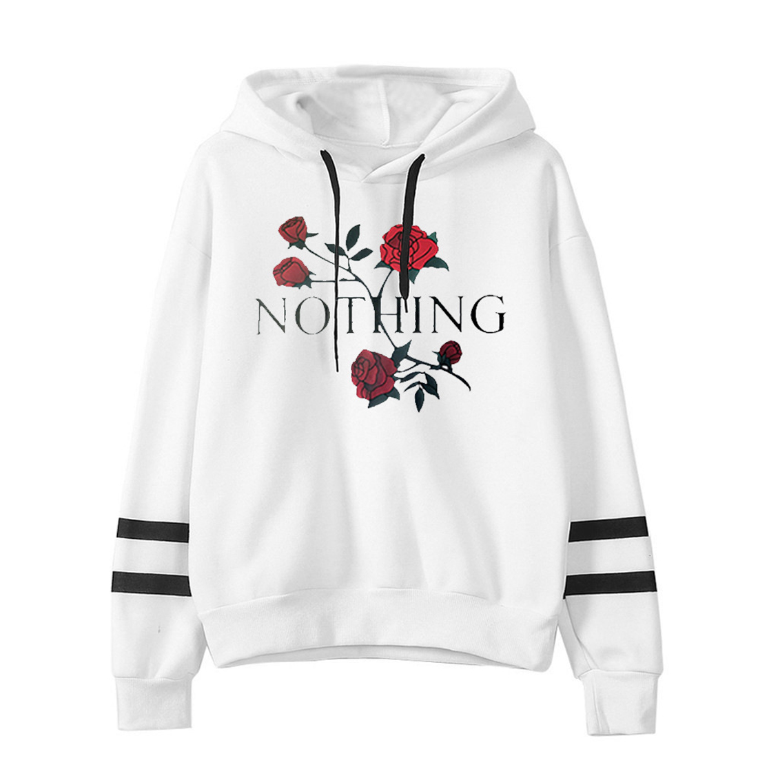 YJSFG HOUSE New Women Coat Fashion Hood Girl Sweatshirt Long Sleeve Winter Home Loose Letter Casual Pullover Tops Floral Clothes
