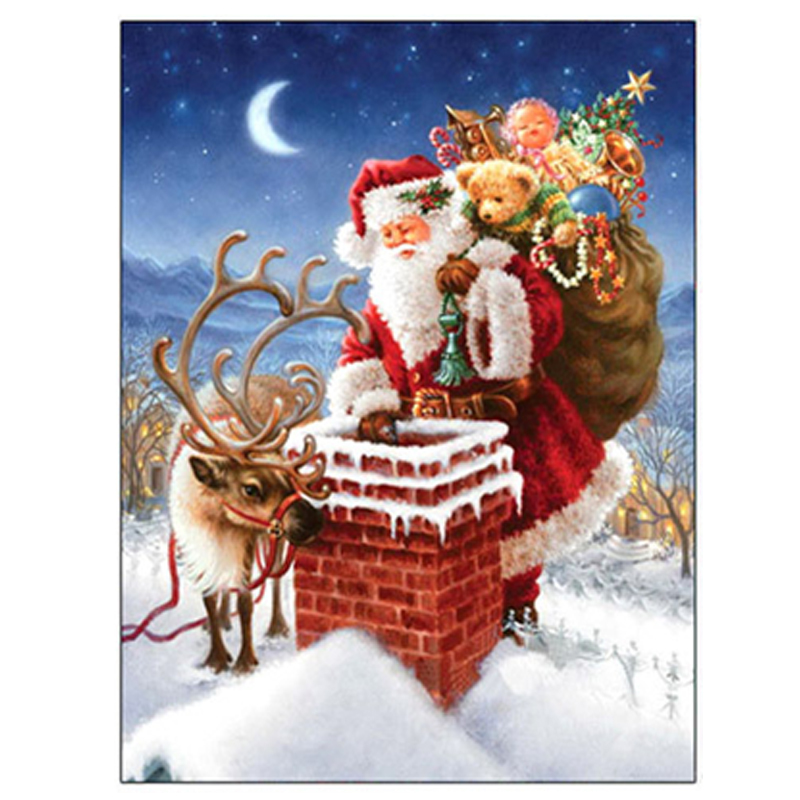 5D <font><b>DIY</b></font> Full Drill Round <font><b>Diamond</b></font> <font><b>Painting</b></font> <font><b>Santa</b></font> <font><b>Claus</b></font> and Reindeer Christmas Series Cross Stitch Decorative <font><b>Painting</b></font> Home Decor image