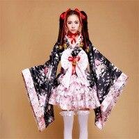 Free Shipping Japanese Kimono Heavy Sakura Cosplay Anime Outfit Maid Costume Dress Kimono Vestidos 7 Pieces