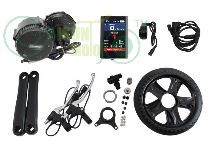 цена на RISUNMOTOR FREE SHIPPING Ebike Kits Electric Bike Mid Drive Motor Kits 36V 500W 8Fun Bafang Crank BBS02 With LCD Display C965