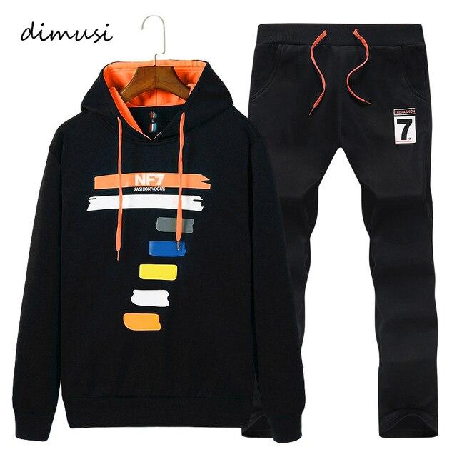 DIMUSI Người Đàn Ông Bộ Thời Trang Đồ Thể Thao Nam Outwear Hoodies Bộ Áo + Quần Thể Thao Mens Quần Áo Mỏng Tracksuit Hoodies 2 Pcs