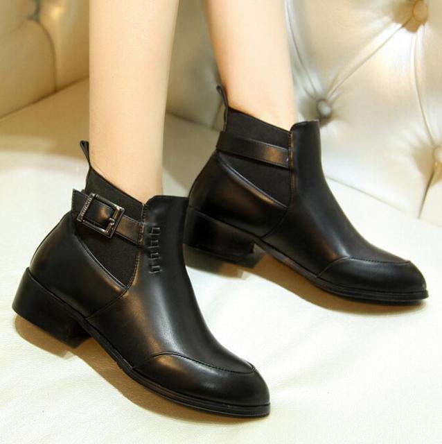 35709185919933 Nouveau Automne Bottes Boucle Chaussures Femmes Appartements Talon femmes  bottes bout Rond Plate-Forme Cheville