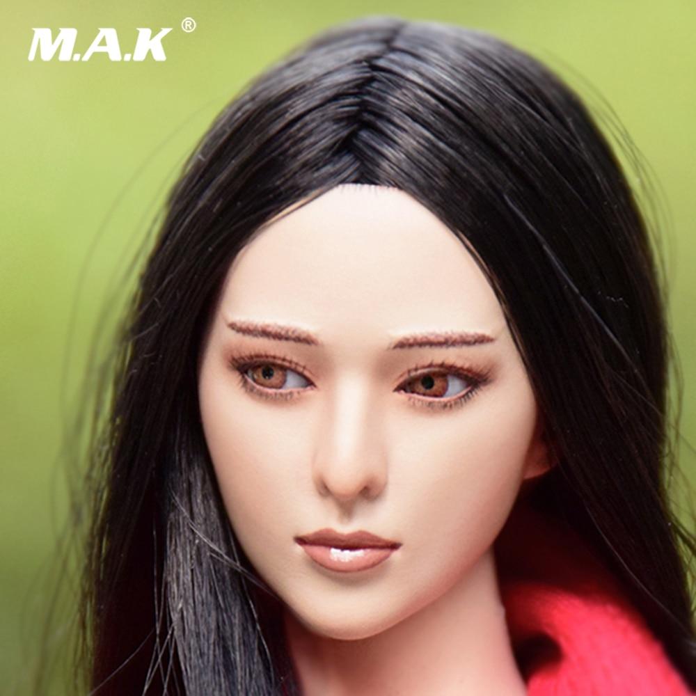1//6 Female Head Sculpt long cheveux bruns pour TBLeague PHICEN pâle figure U.S.A.