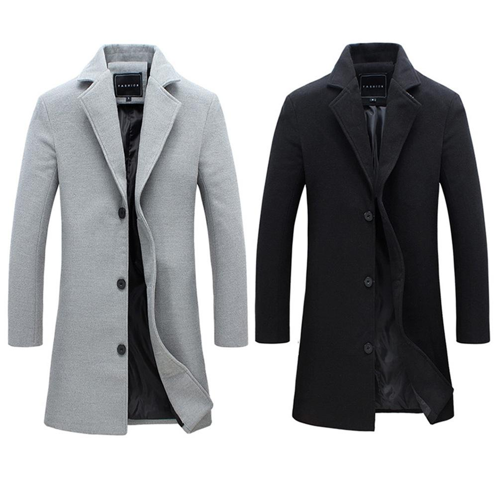 2019 Fashion Men's Wool Coat Winter Warm Solid Color Long Trench Jacket Male Single Breasted Business Casual Overcoat Parka 15