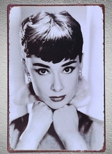 1 pc Audrey Hepburn Hollywood Actress Beauty  Tin Plate Sign wall plaques Man cave vintage Dropshipping metal Poster