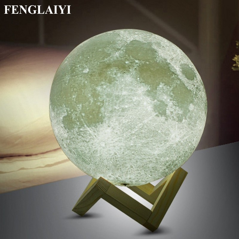 Rechargeable 3D Print Moon Lamp Touch Switch LED Bedroom Night Lamp Novelty Light for Baby Kids Children Christmas Home Decor