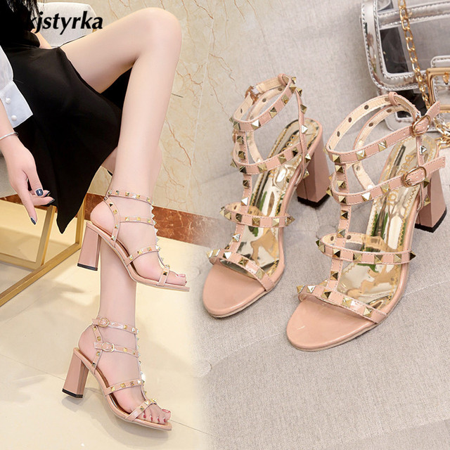 Kjstyrka 2018 brand designer high quality fashion rivet women Shoes casual 8cm high heels comfortable ladies sandals