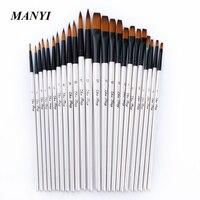 24Pcs Set Pointed Flat Nylon Hair Wool Oil Paint Watercolor Brush Set Art Acrylic Painting Supplies