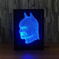 Batman Photo Frame RGB Color Changing 3D Table Lamp DIY LED Night Light Acrylic Bat Man for Christmas Kids Gift