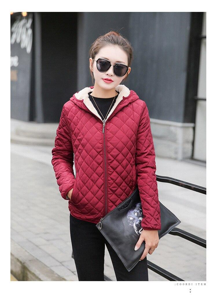 Autumn 2019 New Parkas basic jackets Female Women Winter plus velvet lamb hooded Coats Cotton Winter Jacket Womens Outwear coat 14