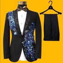 men suits designs wedding men's clothing slim embroidered formal dress masculino homme costumes for singers men sequin blazer