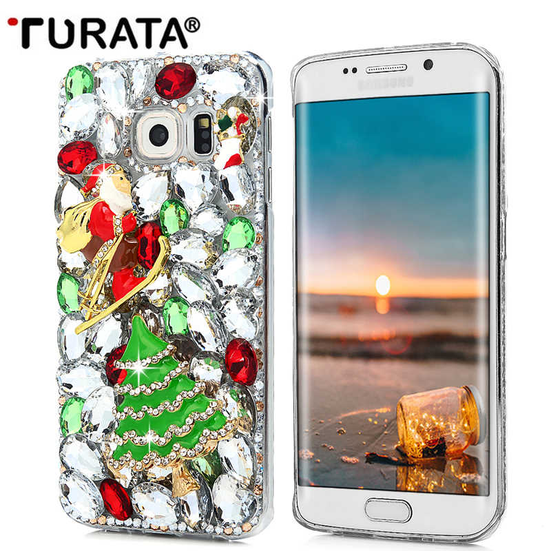 Turata 3D Bling Rhinestone Christmas Tree Trường Hợp Bìa Cho Samsung Galaxy Note 3 4 5 8 A3 A5 A7 J3 J5 J7 S5 S6 S7 Cạnh S8 Cộng Với T4