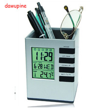 On sale dawupine Storage Box Pen Pencil ruler Glasses Office Supplies Canister Alarm Clock Perpetual Calendar Thermometer Gifts LOGO