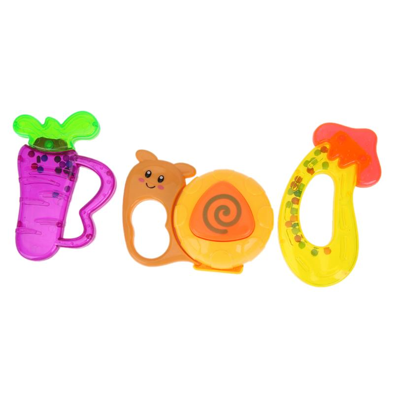 3pcs Infant Rattle Interactive Crab Shape Rattles for Baby Handbell Early Enlightenment Educational Plastic Toy Color Ramdom