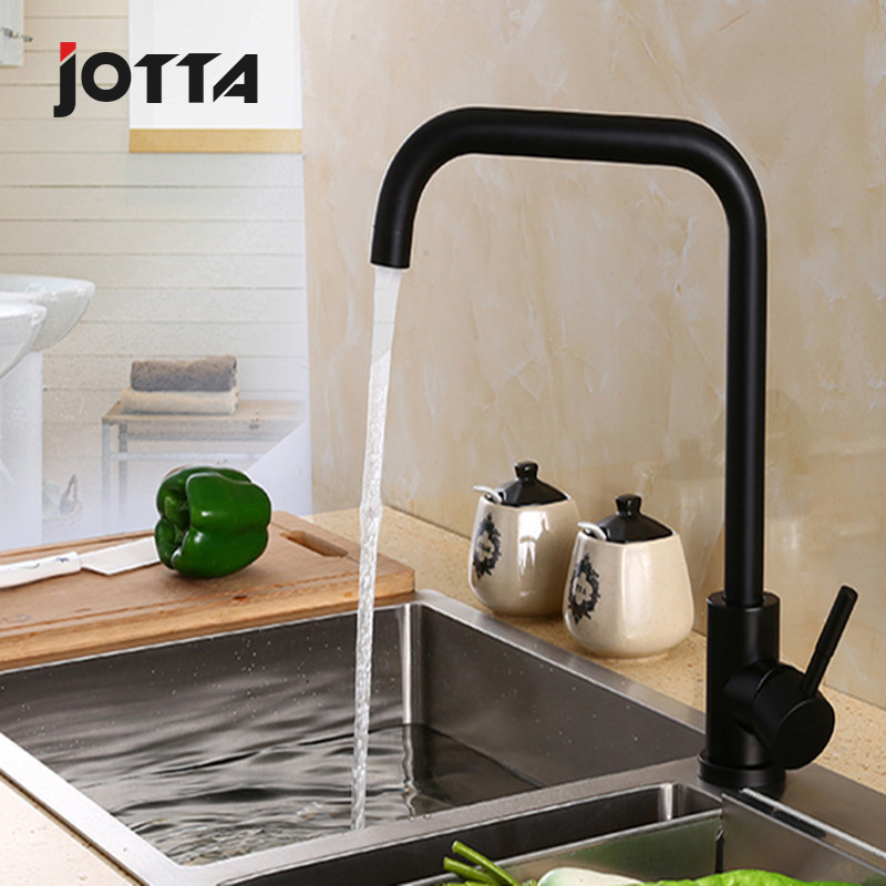 304 stainless steel cold and hot washbasin single hole black retro faucet sink