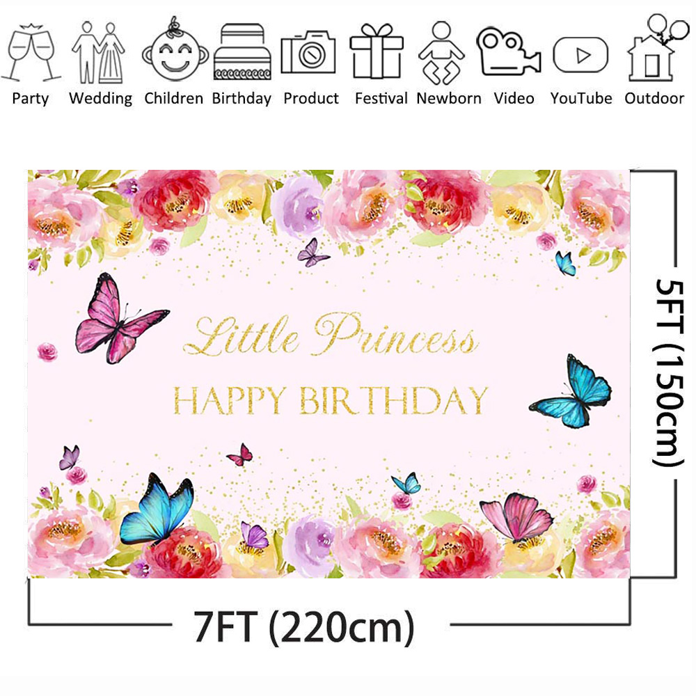 Image 3 - Happy Birthday Photo Background for Little Princess Flower Backdrop Butterfly Baby Party Banner Backgrounds Gold Sequins Spring-in Background from Consumer Electronics