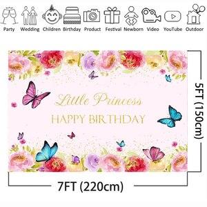 Image 3 - Joyeux anniversaire Photo fond pour petite princesse fleur toile de fond papillon bébé fête bannière arrière plans or paillettes printemps