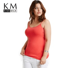 Kissmilk 2017 Plus Size Fashion Woman Top Solid Summer One-Neck Vest Sun-top Skin Tight Sleeveless Spaghetti Strap Top