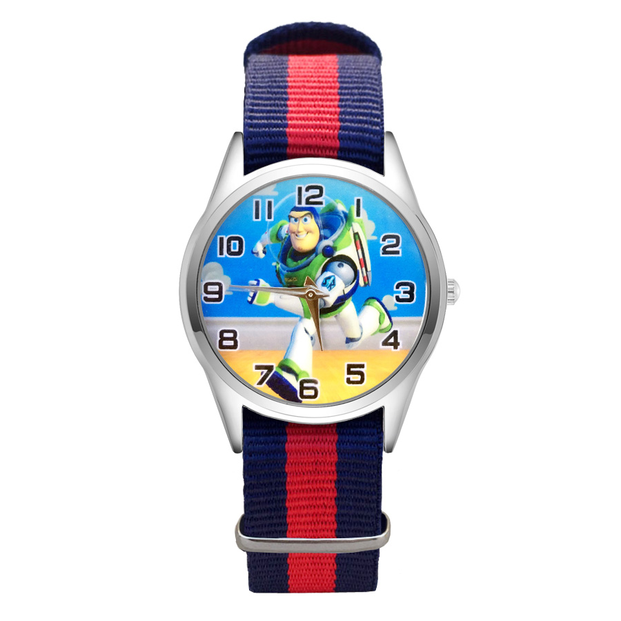 Fashion Cartoon Toy Story style Watches Women's Girls Students Boy's Children Nylon Strap Quartz Wrist Watch Clcok JC51